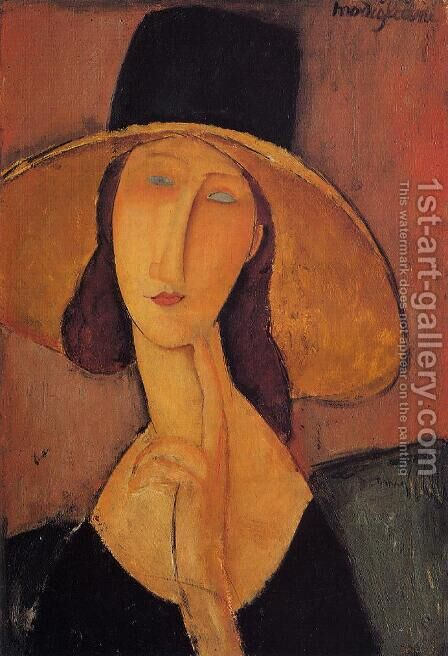 Jeanne Hebuterne in a Large Hat by Amedeo Modigliani - Reproduction Oil Painting