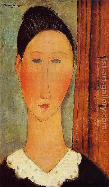 Head of a Girl by Amedeo Modigliani - Reproduction Oil Painting