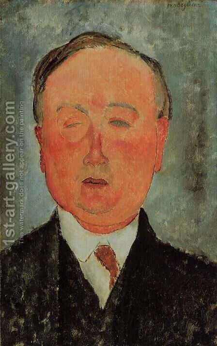 Man in a Monocle Named Bidou by Amedeo Modigliani - Reproduction Oil Painting