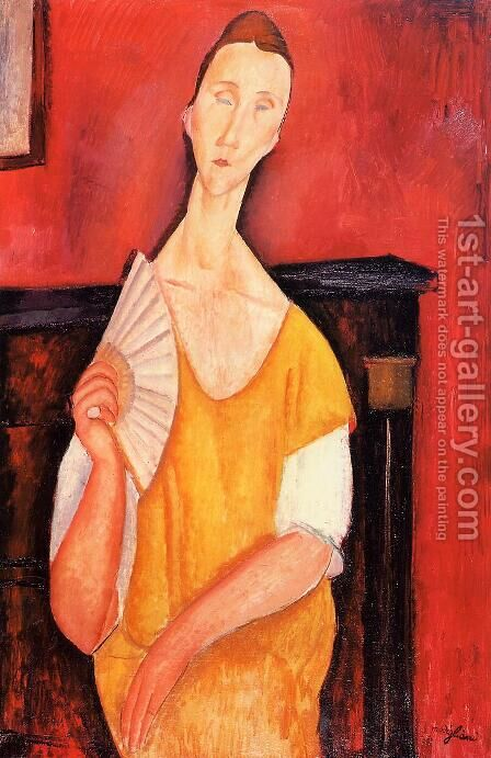 Madame Lunia Czechowska with a Fan by Amedeo Modigliani - Reproduction Oil Painting