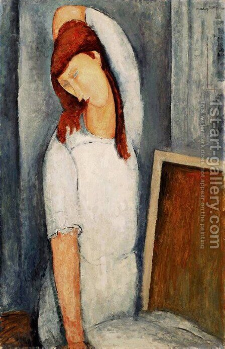 Portrait of Jeanne Hebuterne, Left Arm Behind Her Head by Amedeo Modigliani - Reproduction Oil Painting