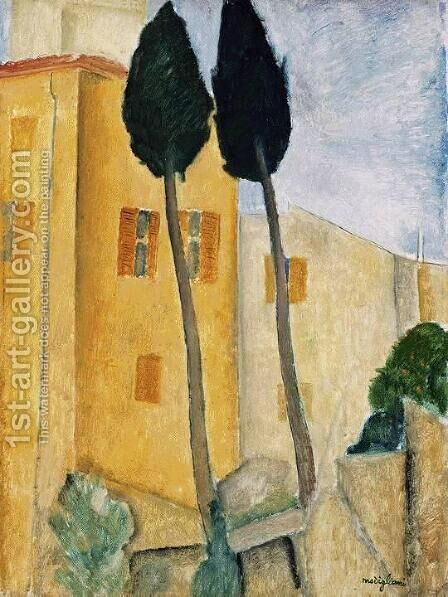 Cypress Trees and Houses, Midday Landscape by Amedeo Modigliani - Reproduction Oil Painting