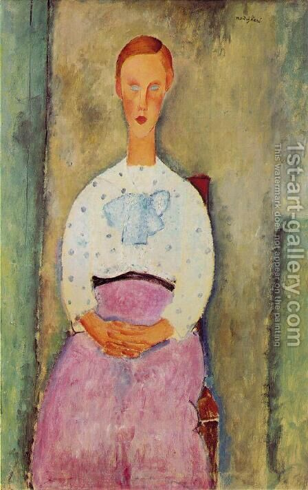 Girl with a Polka-Dot Blouse by Amedeo Modigliani - Reproduction Oil Painting