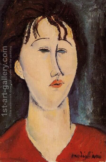 Woman's Head I by Amedeo Modigliani - Reproduction Oil Painting