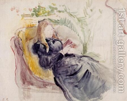 Julie Manet, Reading in a Chaise Lounge by Berthe Morisot - Reproduction Oil Painting