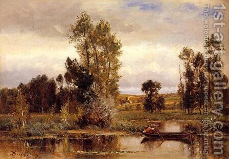 Boat on a Pond by Charles-Francois Daubigny - Reproduction Oil Painting