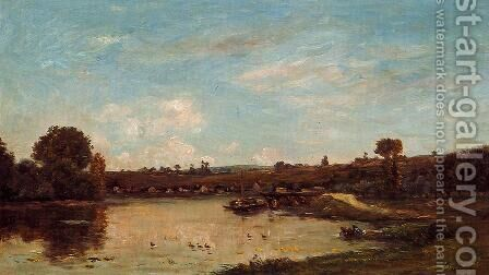 Washerwoman near Valdomdois by Charles-Francois Daubigny - Reproduction Oil Painting