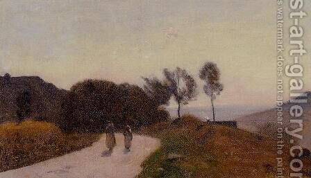 A Road in the Countryside, Near Lake Leman by Jean-Baptiste-Camille Corot - Reproduction Oil Painting
