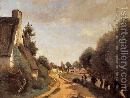A Road near Arras by Jean-Baptiste-Camille Corot - Reproduction Oil Painting