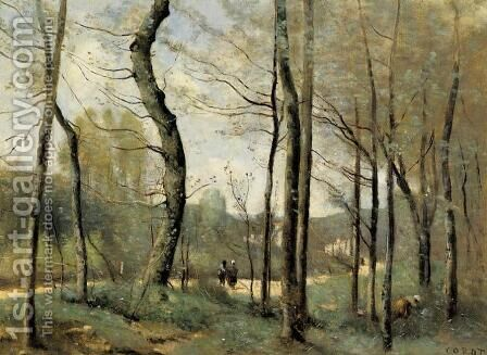 First Leaves, near Nantes by Jean-Baptiste-Camille Corot - Reproduction Oil Painting