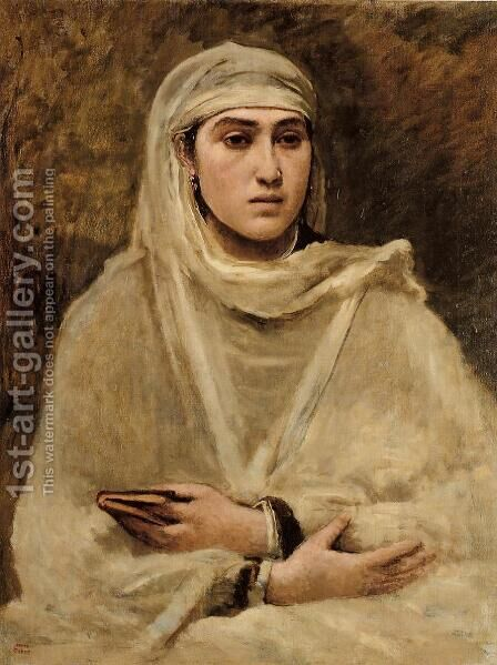 Algerian Woman by Jean-Baptiste-Camille Corot - Reproduction Oil Painting
