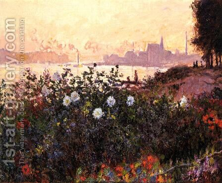 Argenteuil, Flowers by the Riverbank by Claude Oscar Monet - Reproduction Oil Painting