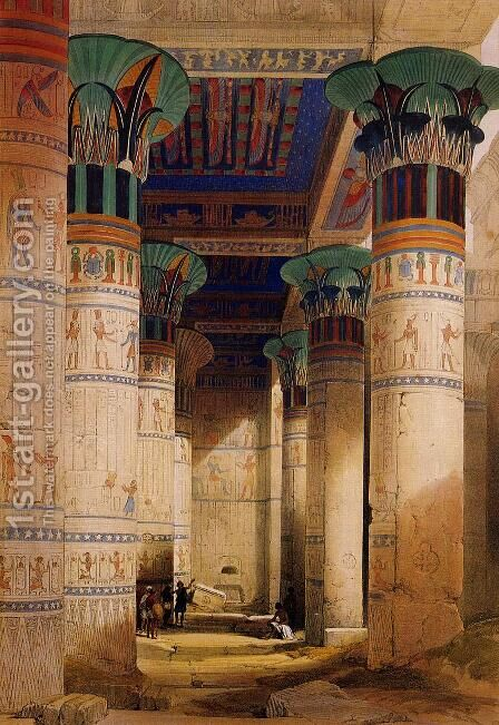 Portico of the Temple of Isis at Philae by David Roberts - Reproduction Oil Painting