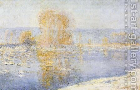 Floating Ice at Bennecourt by Claude Oscar Monet - Reproduction Oil Painting
