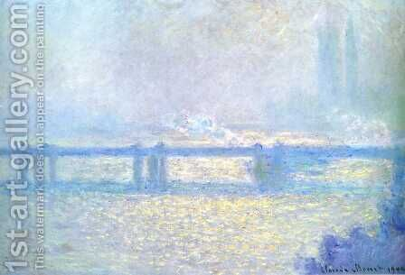 Charing Cross Bridge, Overcast Weather by Claude Oscar Monet - Reproduction Oil Painting