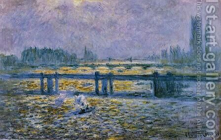Charing Cross Bridge, Reflections on the Thames by Claude Oscar Monet - Reproduction Oil Painting