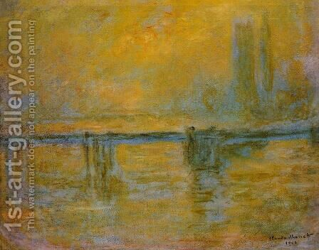 Charing Cross Bridge, Fog by Claude Oscar Monet - Reproduction Oil Painting