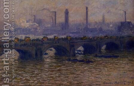Waterloo Bridge, Grey Weather by Claude Oscar Monet - Reproduction Oil Painting