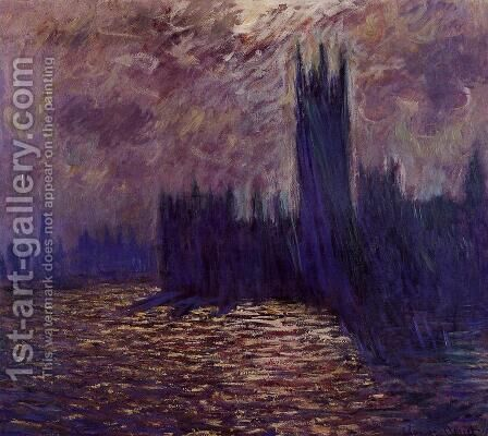 Houses of Parliament, Reflection of the Thames by Claude Oscar Monet - Reproduction Oil Painting
