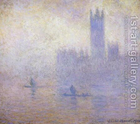 Houses of Parliament, Fog Effect I by Claude Oscar Monet - Reproduction Oil Painting