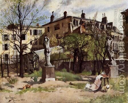 Garden with Sculptures by Carl Larsson - Reproduction Oil Painting