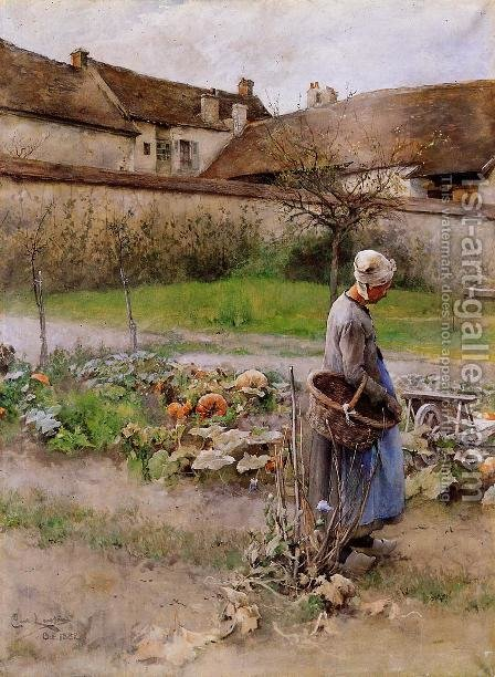 October by Carl Larsson - Reproduction Oil Painting