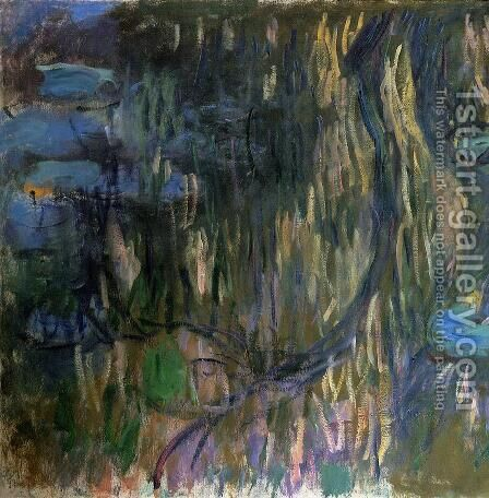 Water-Lilies, Reflections of Weeping Willows (left half) by Claude Oscar Monet - Reproduction Oil Painting