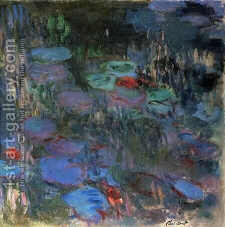 Water-Lilies, Reflections of Weeping Willows (right half) by Claude Oscar Monet - Reproduction Oil Painting