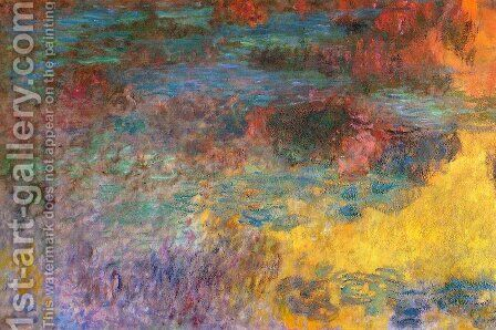 Water-Lily Pond, Evening (left panel) by Claude Oscar Monet - Reproduction Oil Painting