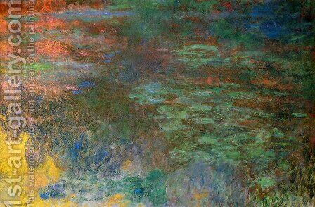 Water-Lily Pond, Evening (right panel) by Claude Oscar Monet - Reproduction Oil Painting