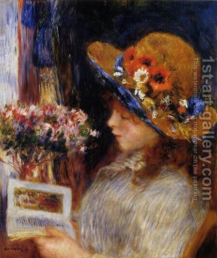 Young Girl Reading 2 by Pierre Auguste Renoir - Reproduction Oil Painting