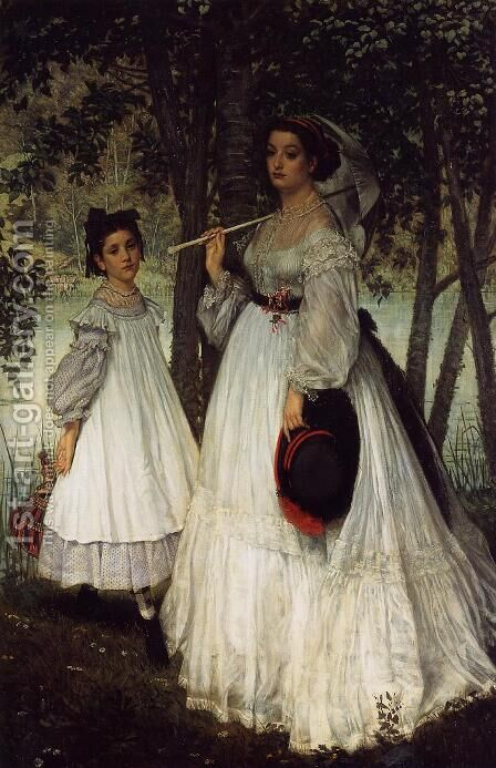 The Two Sisters; Portrait by James Jacques Joseph Tissot - Reproduction Oil Painting