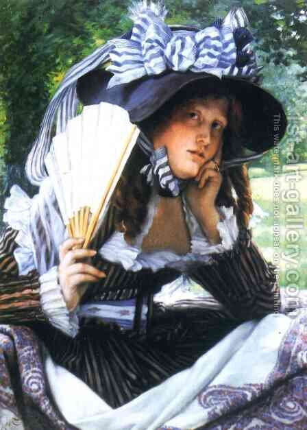 Young Lady with a Fan by James Jacques Joseph Tissot - Reproduction Oil Painting