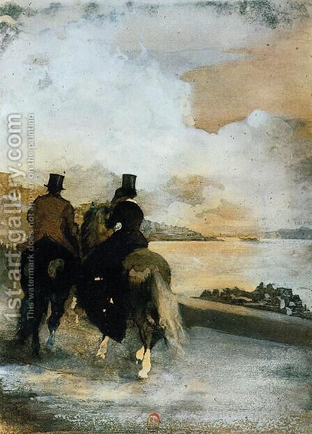 Two Riders by a Lake by Edgar Degas - Reproduction Oil Painting