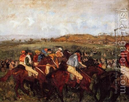 The Gentlemen's Race: Before the Start by Edgar Degas - Reproduction Oil Painting