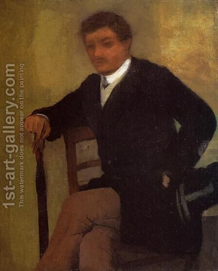 Seated Young Man in a Jacket with an Umbrella by Edgar Degas - Reproduction Oil Painting