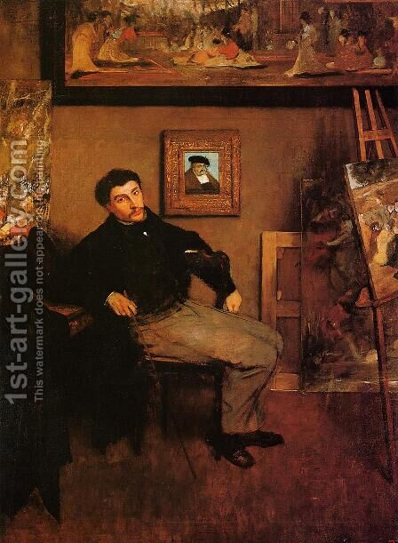 Portrait of James Tissot by Edgar Degas - Reproduction Oil Painting