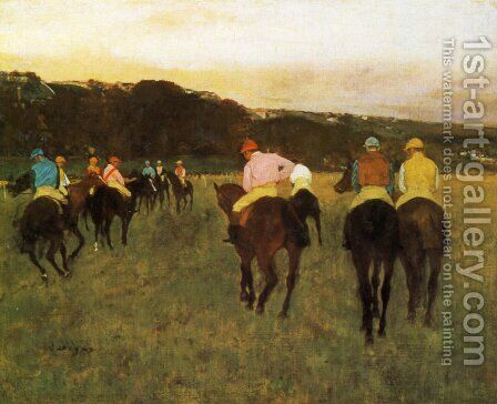 Racehorses at Longchamp by Edgar Degas - Reproduction Oil Painting