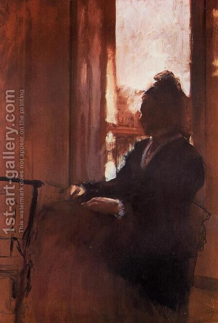 Woman at the Window by Edgar Degas - Reproduction Oil Painting