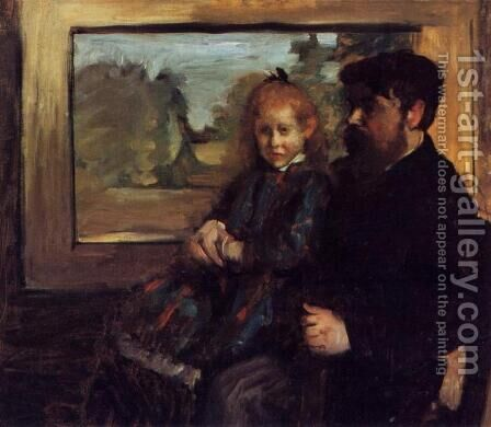 Henri Rouart and His Daughter Helene by Edgar Degas - Reproduction Oil Painting