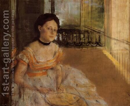 Woman Seated on a Balcony by Edgar Degas - Reproduction Oil Painting