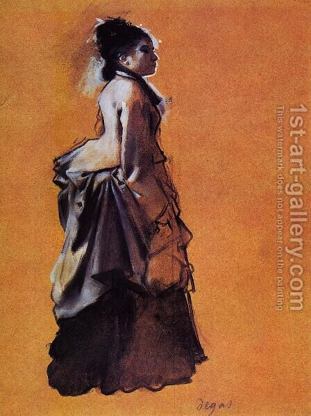 Young Woman in Street Dress by Edgar Degas - Reproduction Oil Painting
