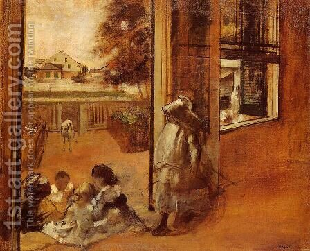 Children on a Doorstep by Edgar Degas - Reproduction Oil Painting