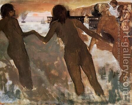 Peasant Girls Bathing in the Sea at Dusk by Edgar Degas - Reproduction Oil Painting