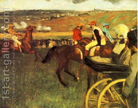 The Racecourse, Amateur Jockeys by Edgar Degas - Reproduction Oil Painting