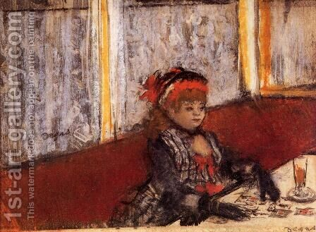 Woman in a Cafe by Edgar Degas - Reproduction Oil Painting