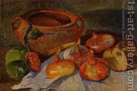 Still Life: Pit, Onions, Bread and Green Apples by Jacob de Haan - Reproduction Oil Painting
