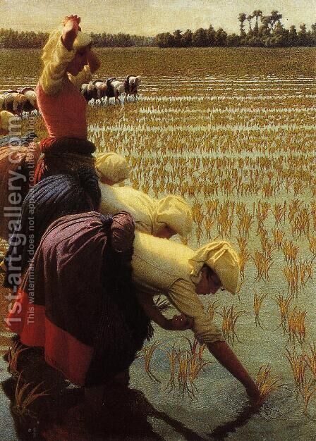 In the Rice Fields by Angelo Morbelli - Reproduction Oil Painting