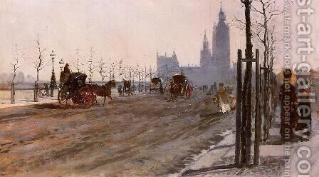 The Victoria Embankment, London by Giuseppe de Nittis - Reproduction Oil Painting