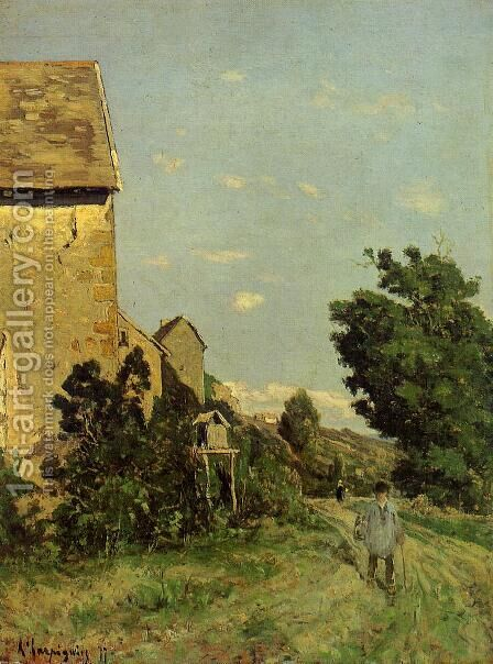 Path through a Normandy Village by Henri Joseph Harpignies - Reproduction Oil Painting